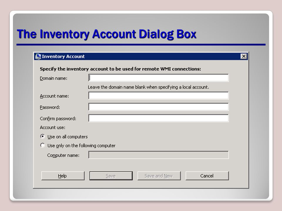 The Inventory Account Dialog Box