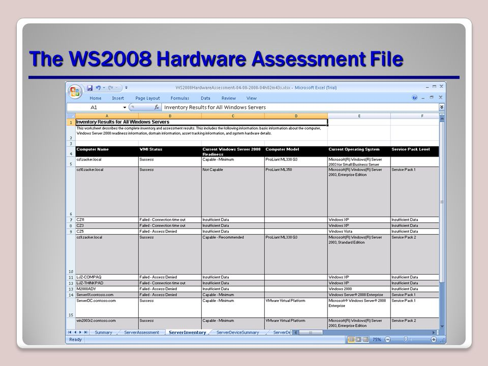 The WS2008 Hardware Assessment File