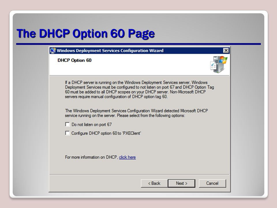 The DHCP Option 60 Page