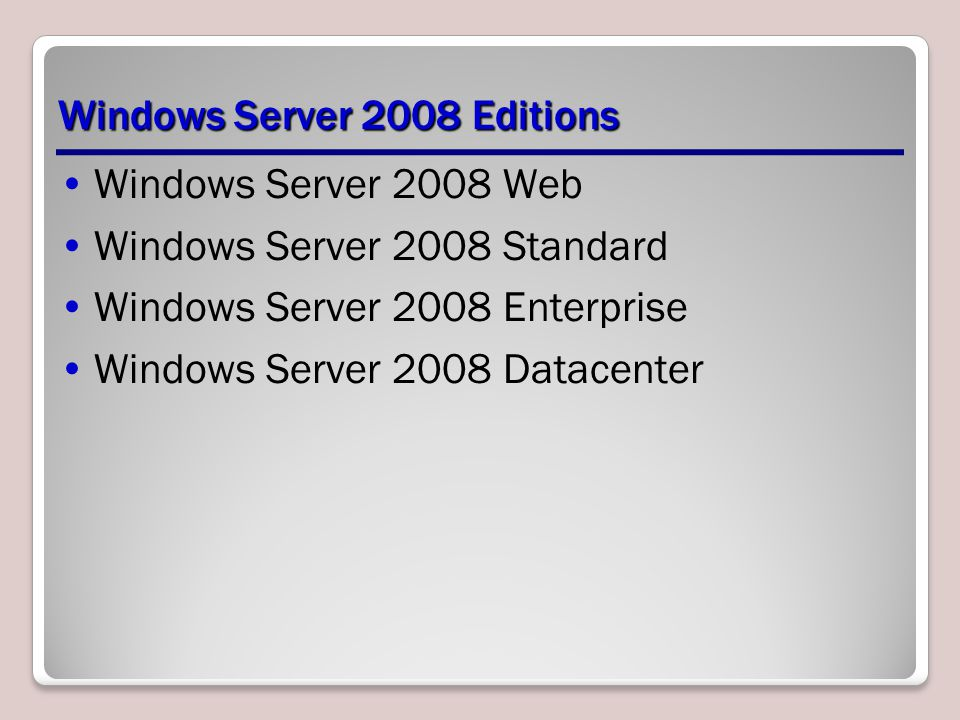 Windows Server 2008 Editions