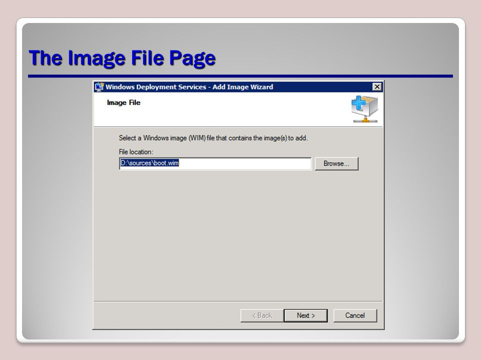 The Image File Page