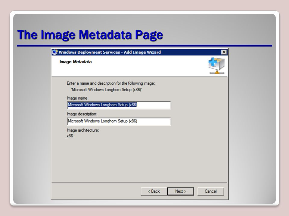 The Image Metadata Page