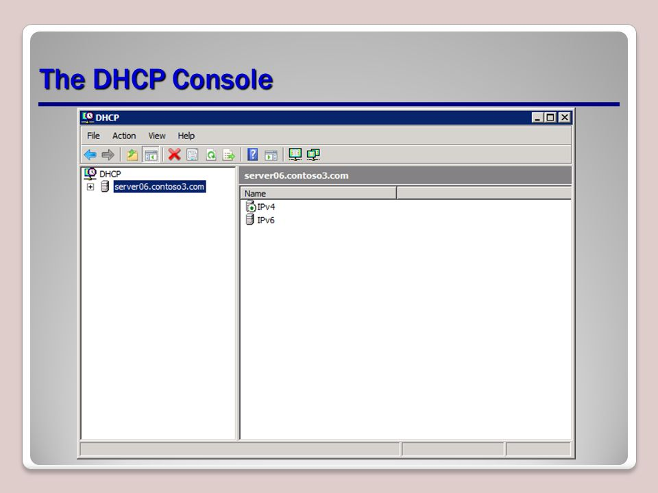The DHCP Console