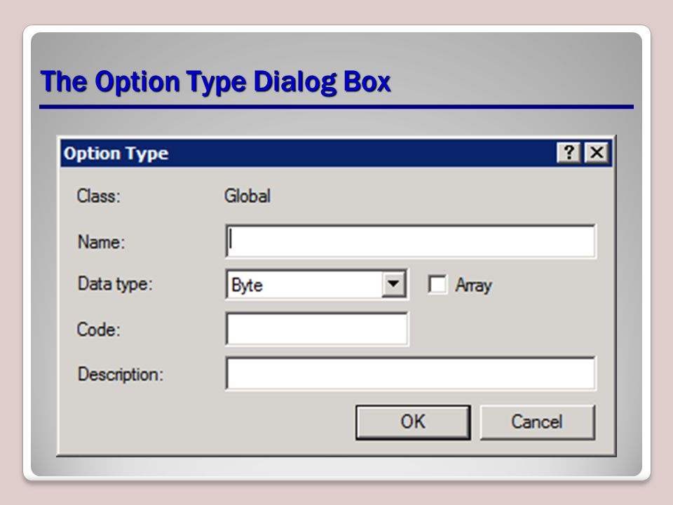 The Option Type Dialog Box