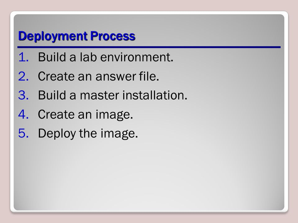 Deployment Process Build a lab environment. Create an answer file. Build a master installation. Create an image.