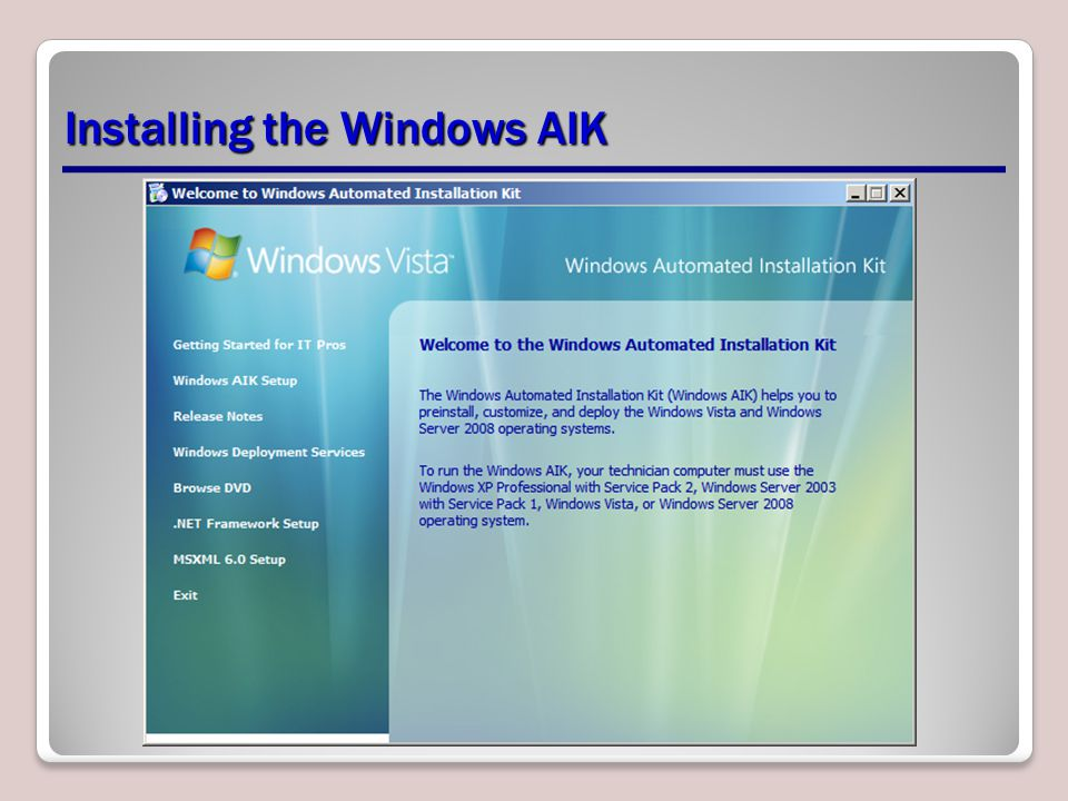 Installing the Windows AIK