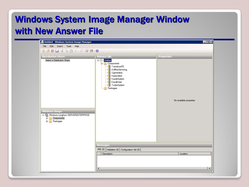 Windows System Image Manager Window with New Answer File