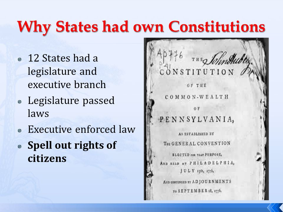 Why States had own Constitutions