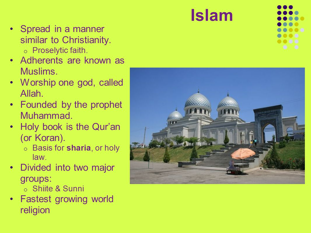 Islam Spread in a manner similar to Christianity.