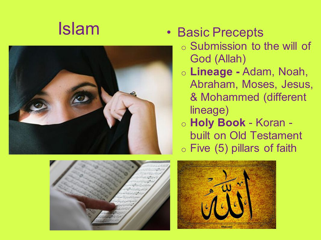 Islam Basic Precepts Submission to the will of God (Allah)