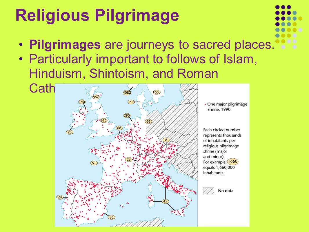 Religious Pilgrimage Pilgrimages are journeys to sacred places.