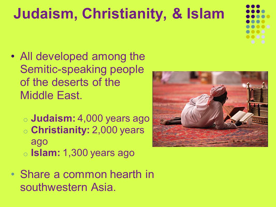 Judaism, Christianity, & Islam