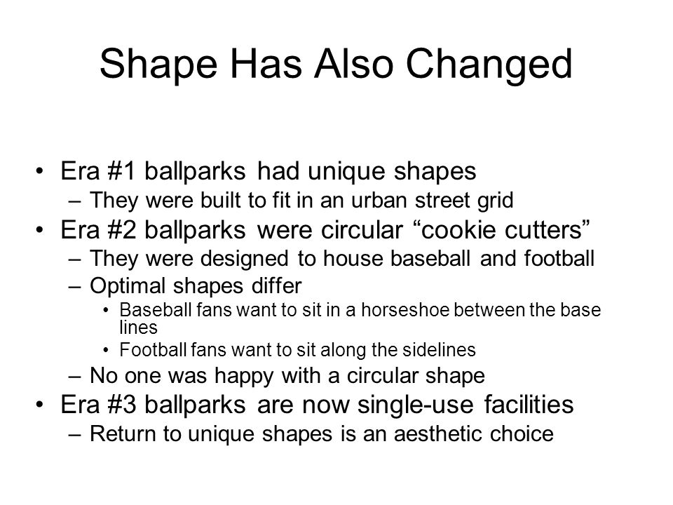 Shape Has Also Changed Era #1 ballparks had unique shapes