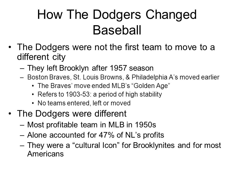 How The Dodgers Changed Baseball