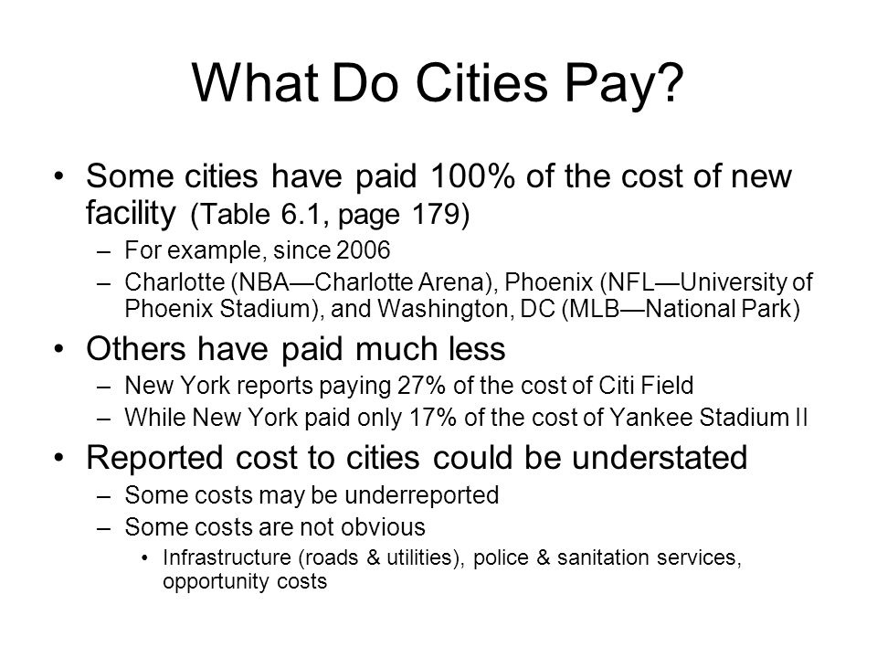 What Do Cities Pay Some cities have paid 100% of the cost of new facility (Table 6.1, page 179) For example, since 2006.