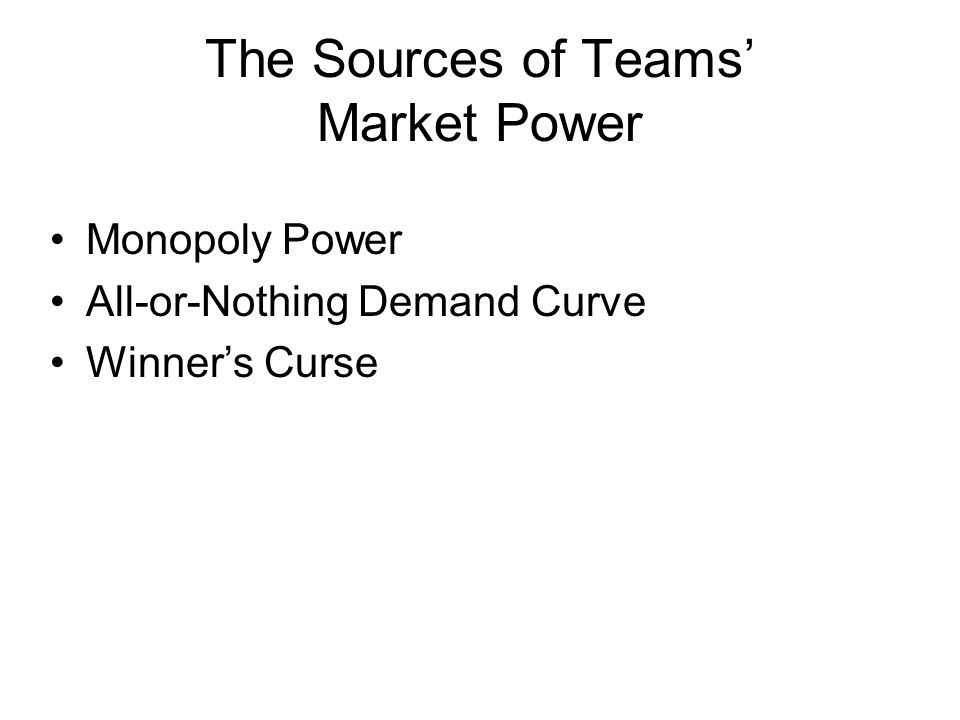 The Sources of Teams' Market Power