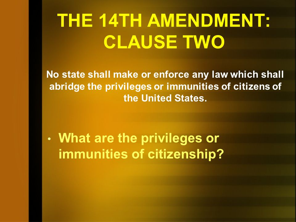 THE 14TH AMENDMENT: CLAUSE TWO