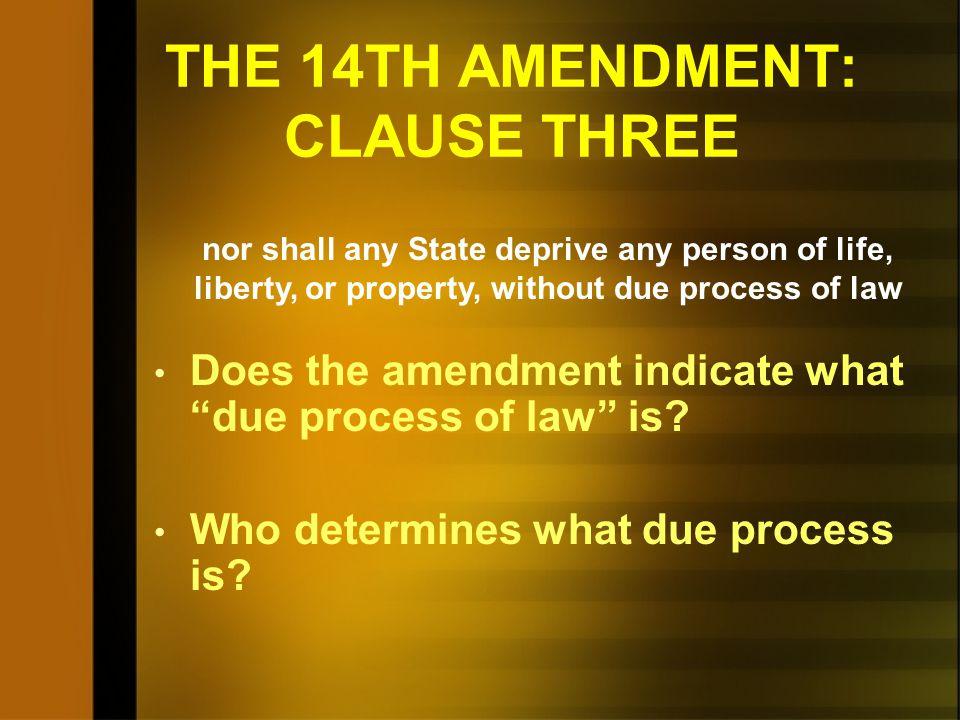 THE 14TH AMENDMENT: CLAUSE THREE