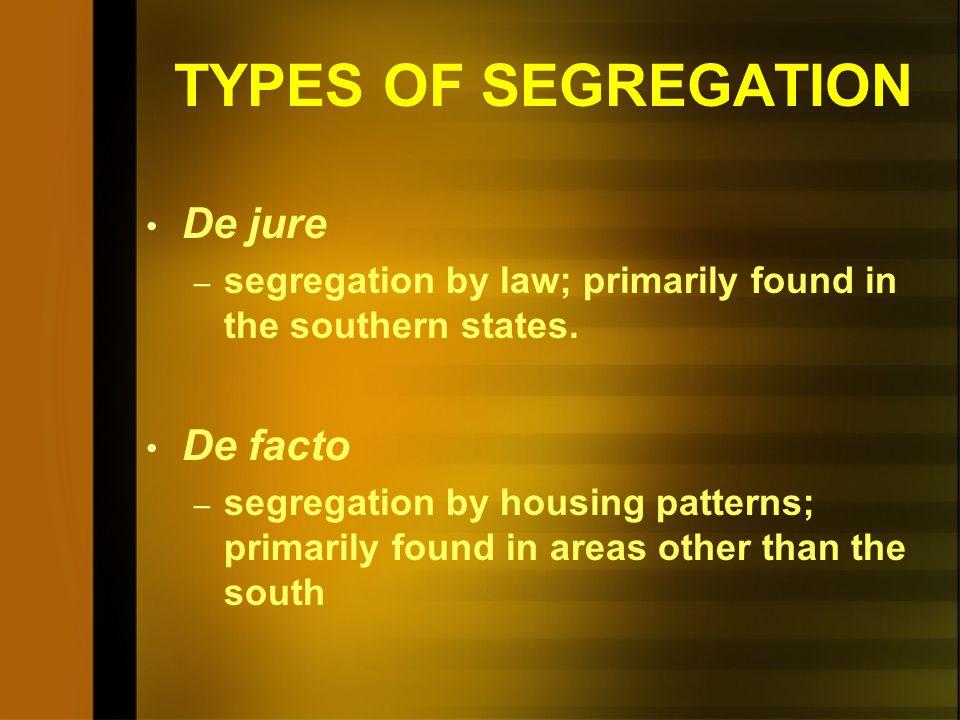 TYPES OF SEGREGATION De jure De facto
