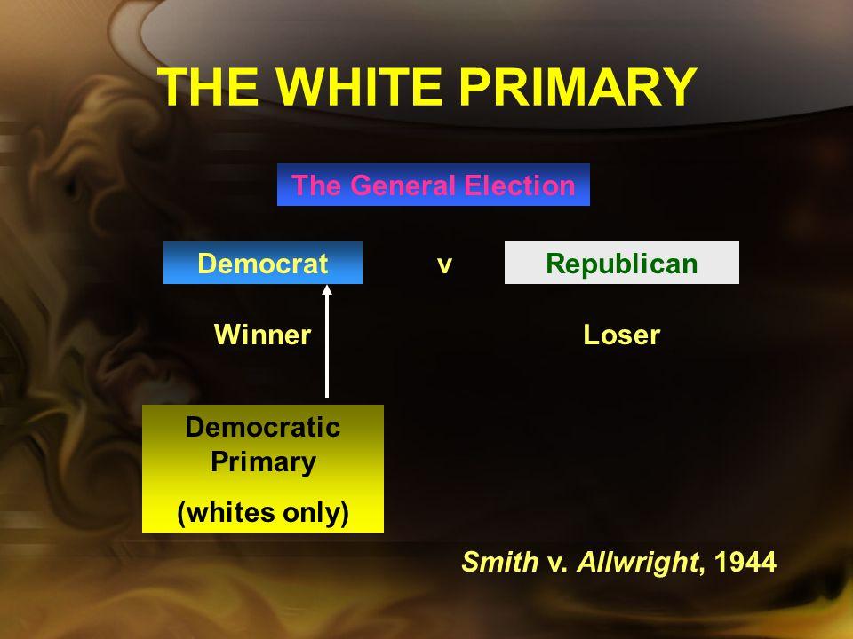 THE WHITE PRIMARY The General Election Democrat v Republican Winner