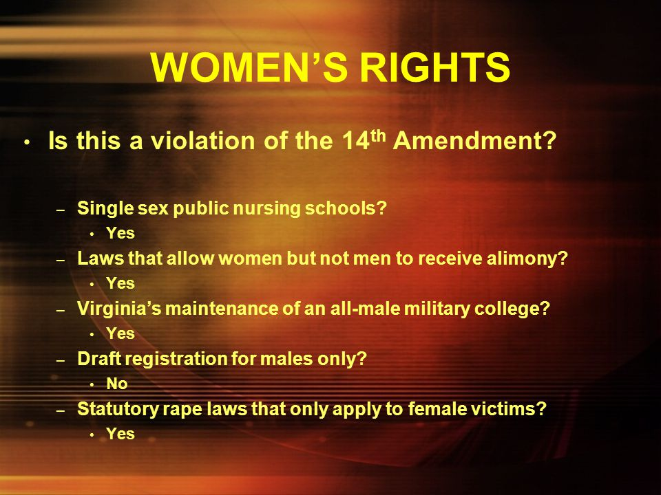 WOMEN'S RIGHTS Is this a violation of the 14th Amendment