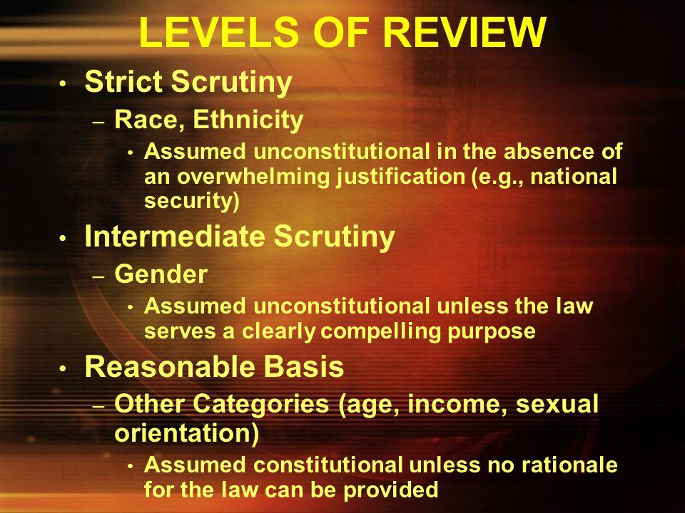 LEVELS OF REVIEW Strict Scrutiny Intermediate Scrutiny