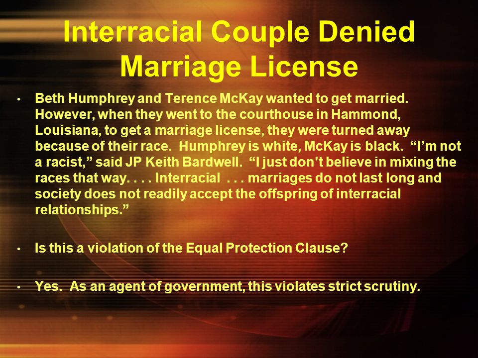 Interracial Couple Denied Marriage License