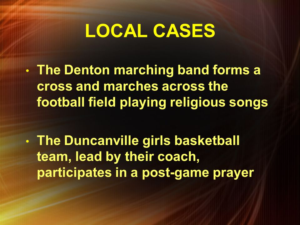 LOCAL CASES The Denton marching band forms a cross and marches across the football field playing religious songs.