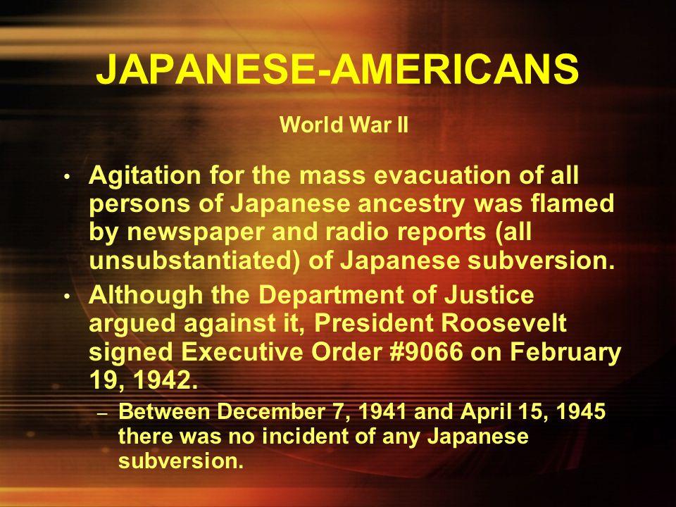 JAPANESE-AMERICANS World War II.
