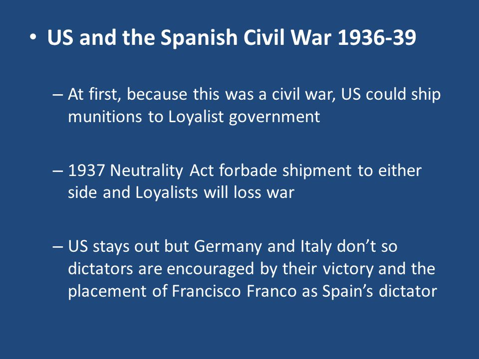 US and the Spanish Civil War 1936-39