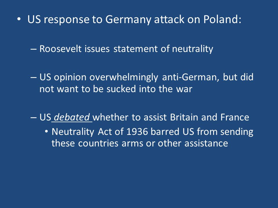 US response to Germany attack on Poland: