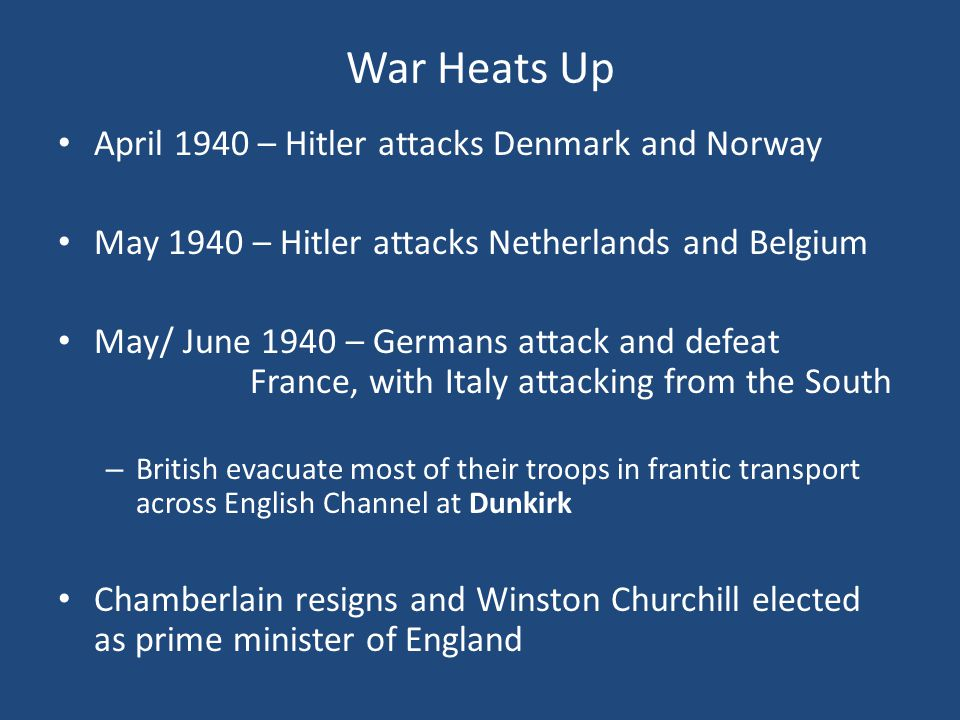 War Heats Up April 1940 – Hitler attacks Denmark and Norway