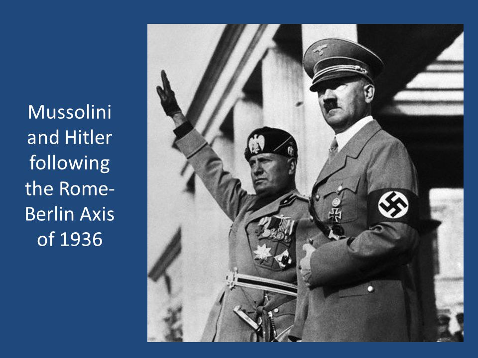 Mussolini and Hitler following the Rome-Berlin Axis of 1936