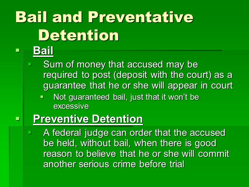 Bail and Preventative Detention