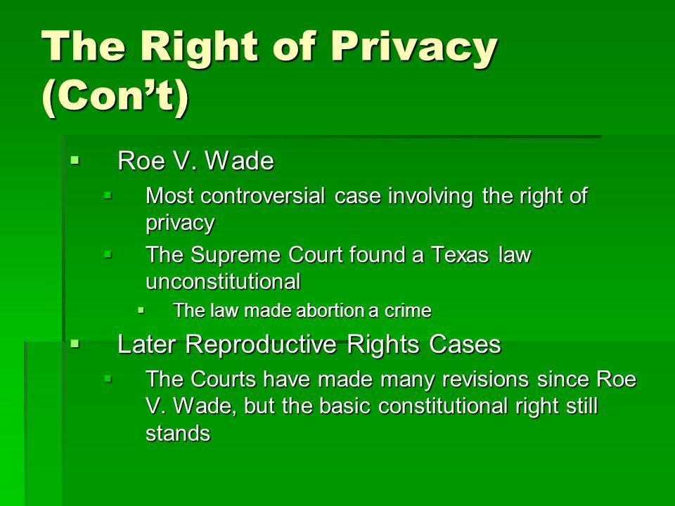The Right of Privacy (Con't)