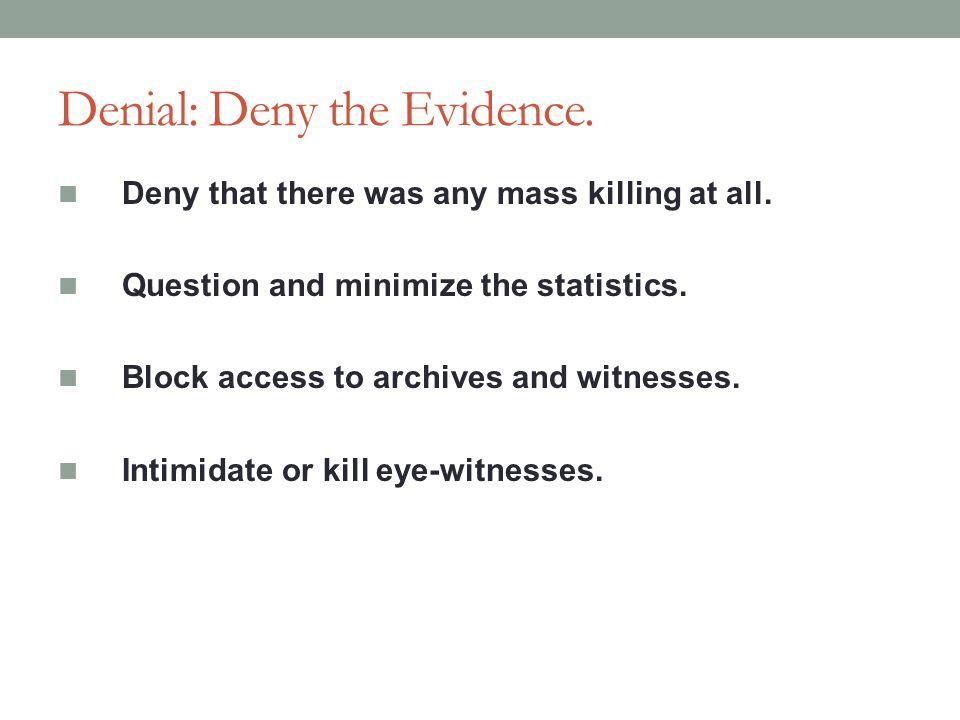 Denial: Deny the Evidence.