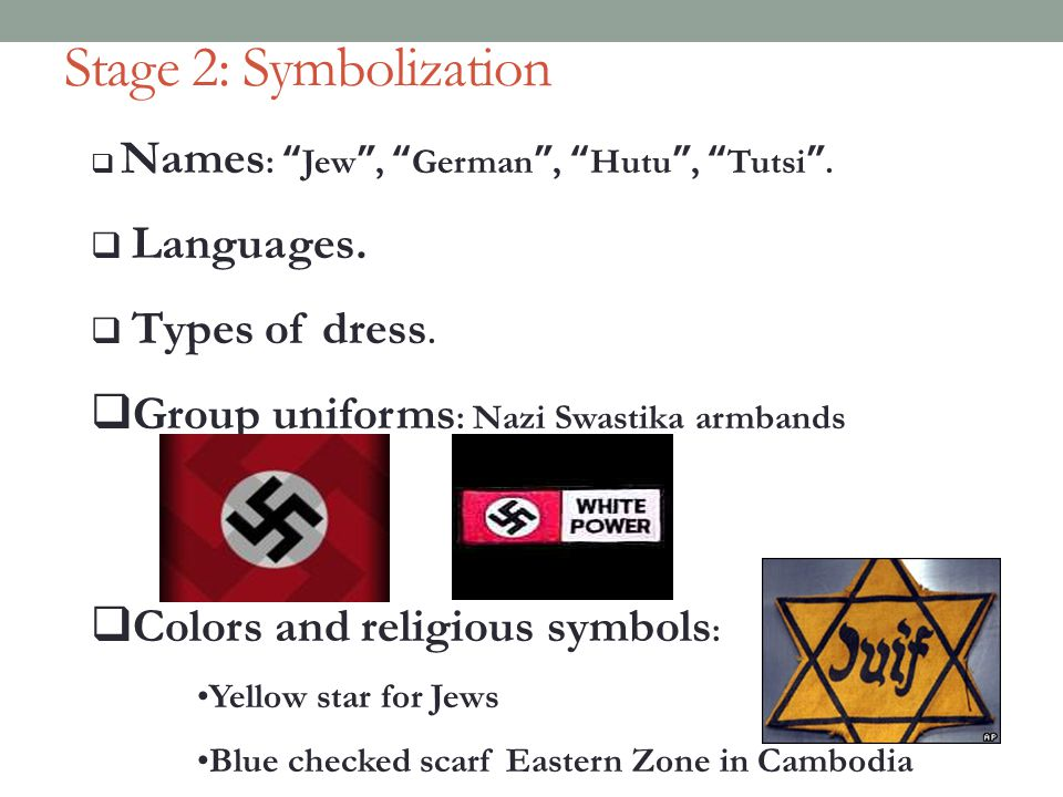 Stage 2: Symbolization Group uniforms: Nazi Swastika armbands