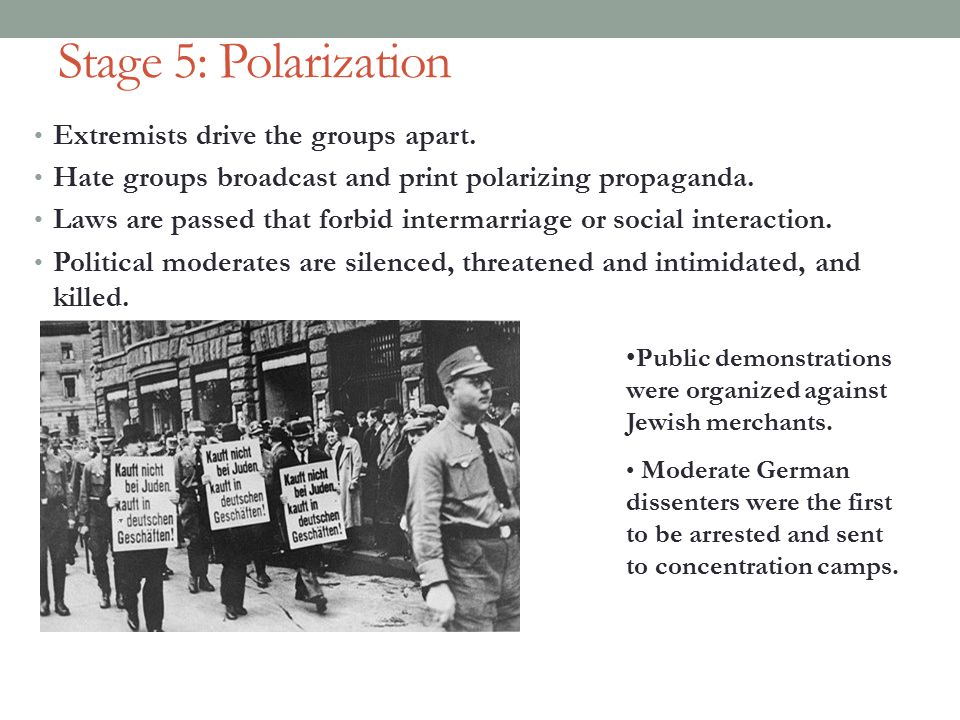 Stage 5: Polarization Extremists drive the groups apart.