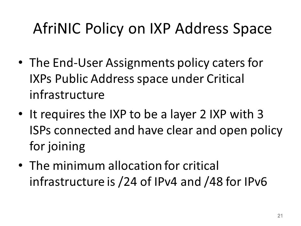 AfriNIC Policy on IXP Address Space