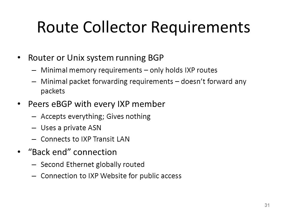 Route Collector Requirements