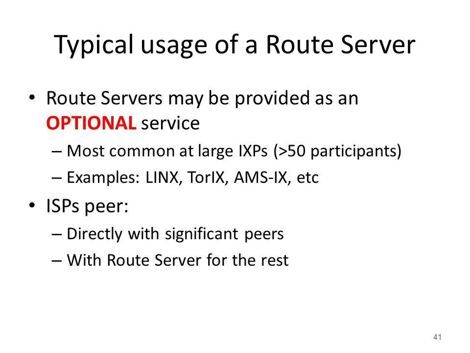 Typical usage of a Route Server