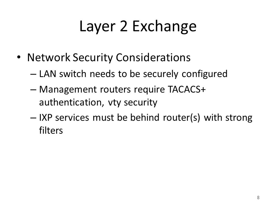 Layer 2 Exchange Network Security Considerations