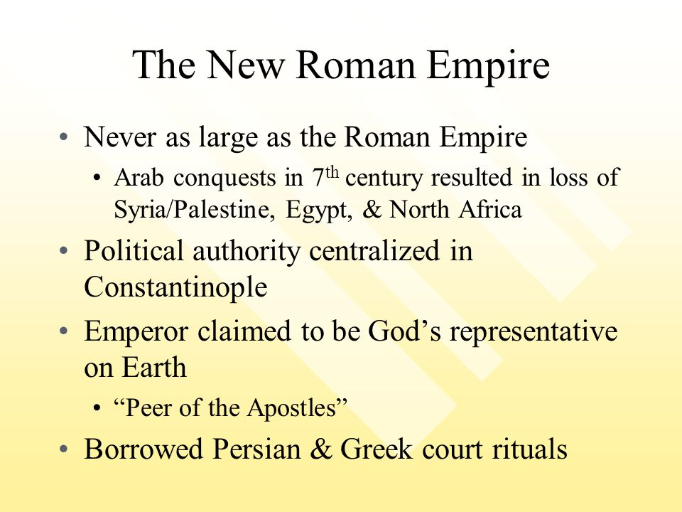 The New Roman Empire Never as large as the Roman Empire