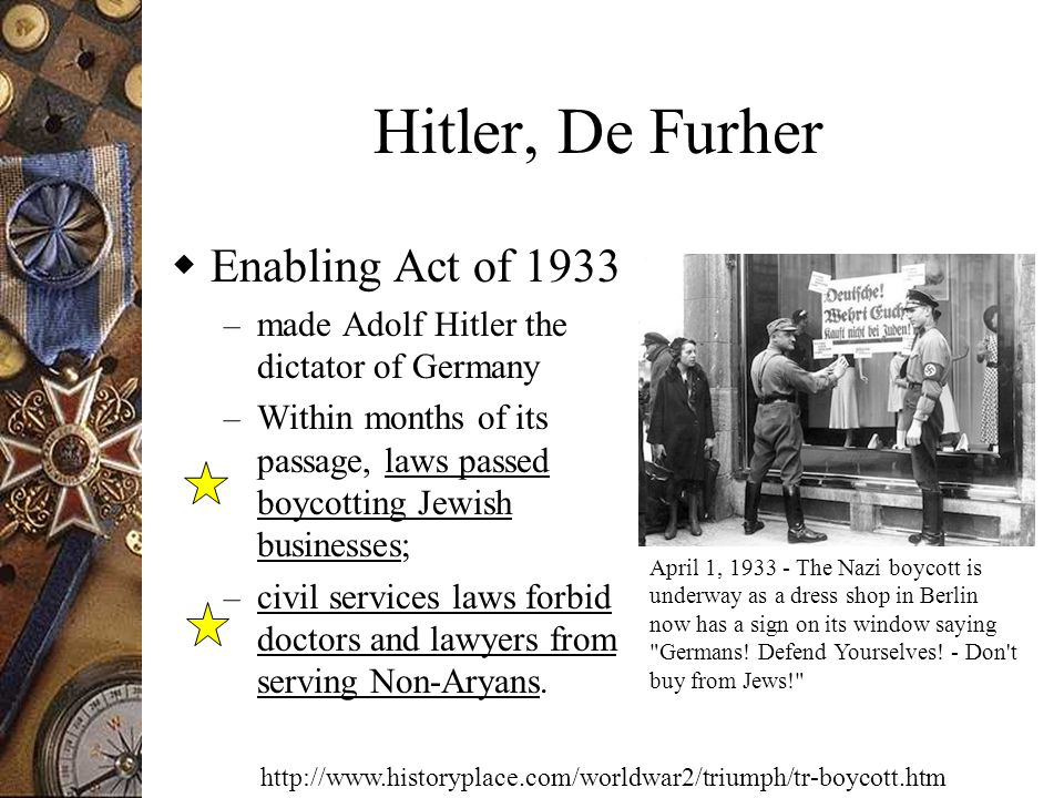 Hitler, De Furher Enabling Act of 1933