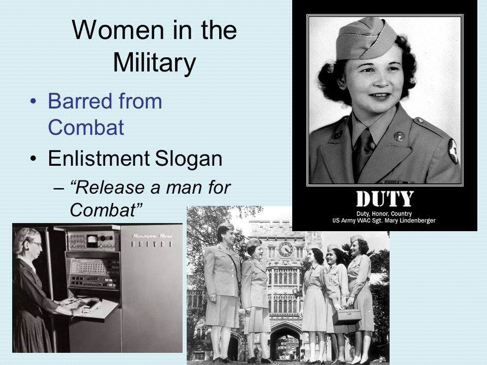 Women in the Military Barred from Combat Enlistment Slogan
