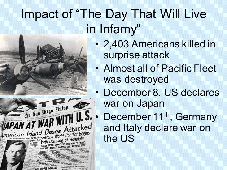 Impact of The Day That Will Live in Infamy