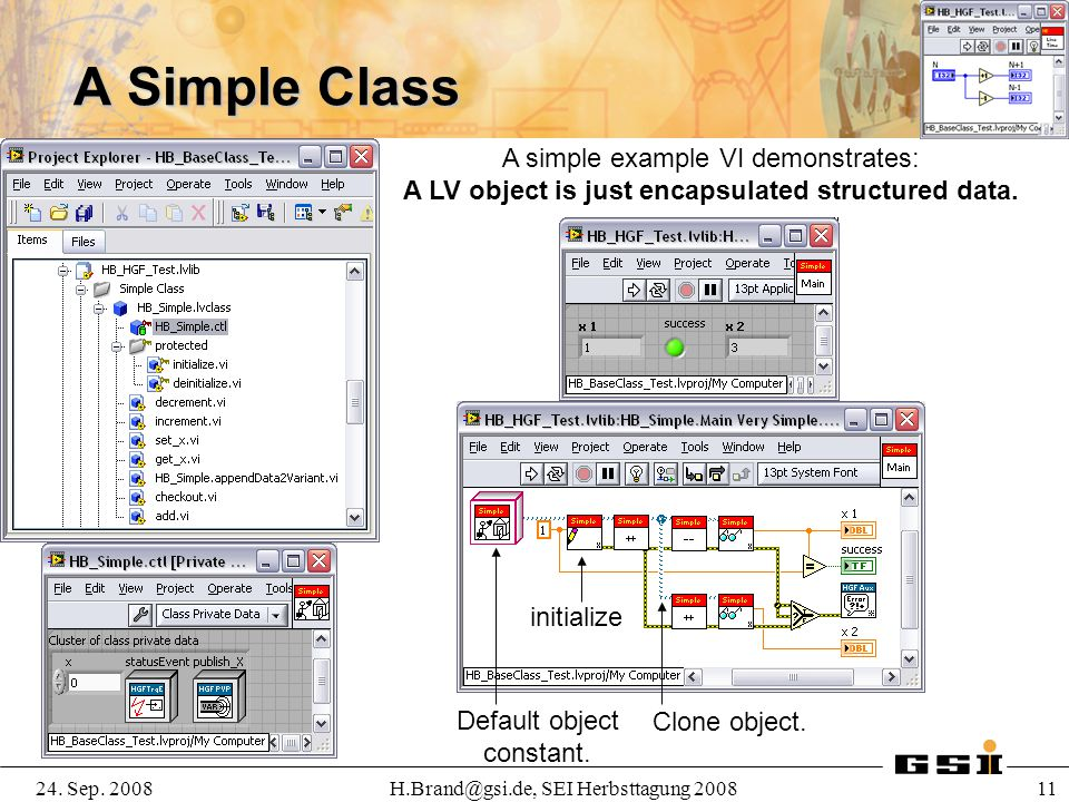 A Simple Class A simple example VI demonstrates: A LV object is just encapsulated structured data.