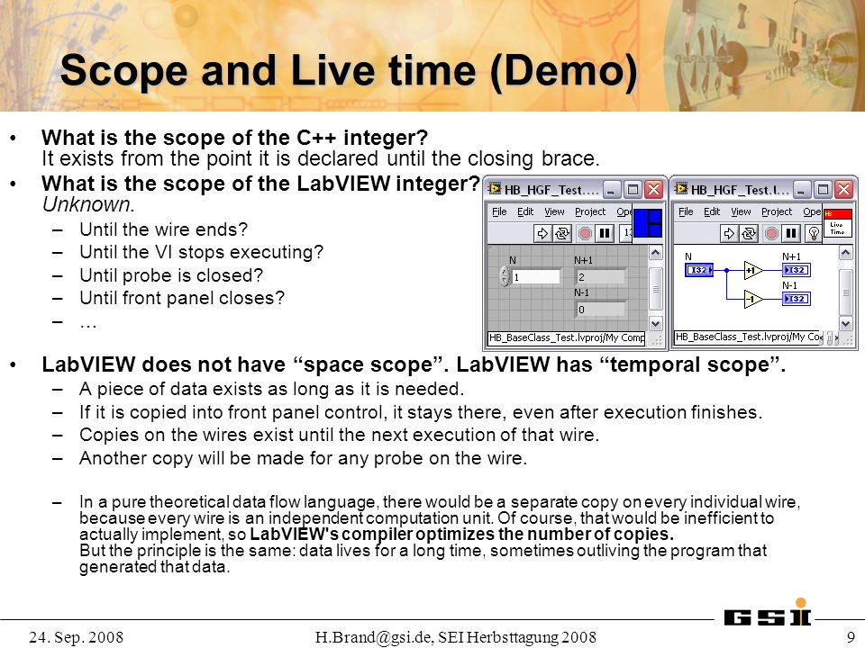 Scope and Live time (Demo)