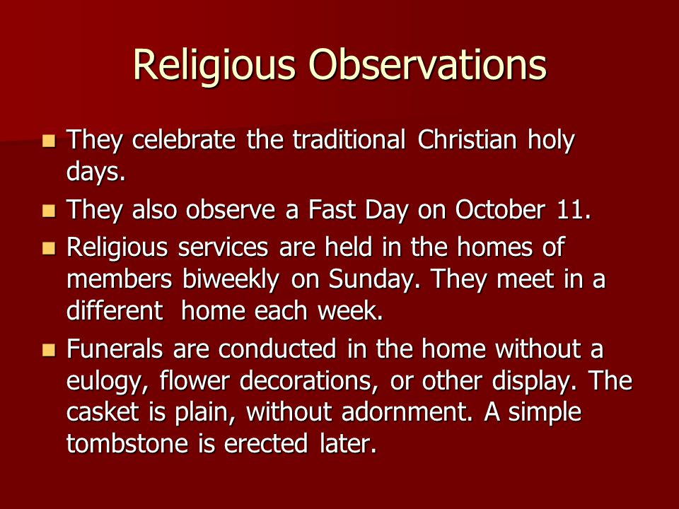 Religious Observations