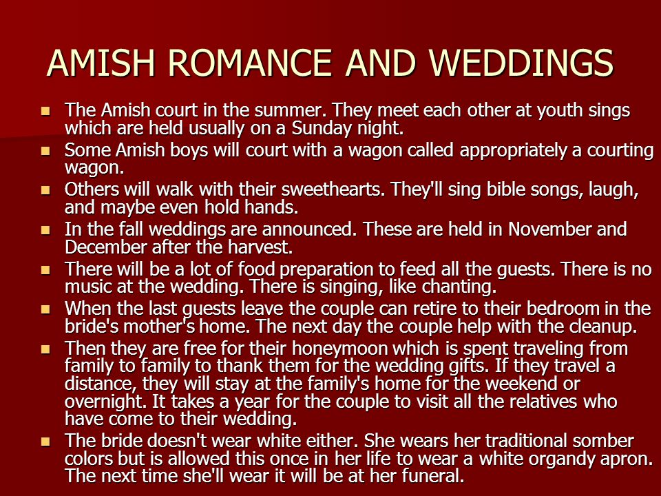 AMISH ROMANCE AND WEDDINGS